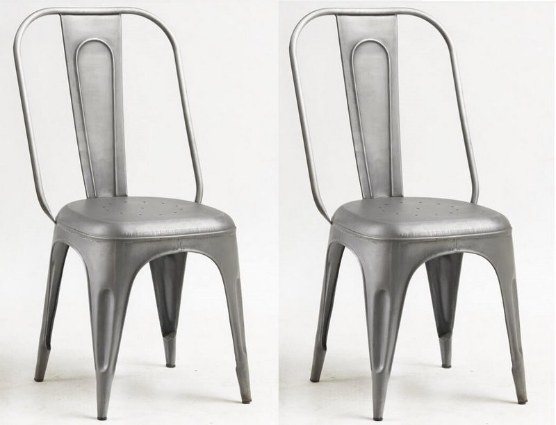 Cosmo Industrial Grey Metal Chairs - Pair