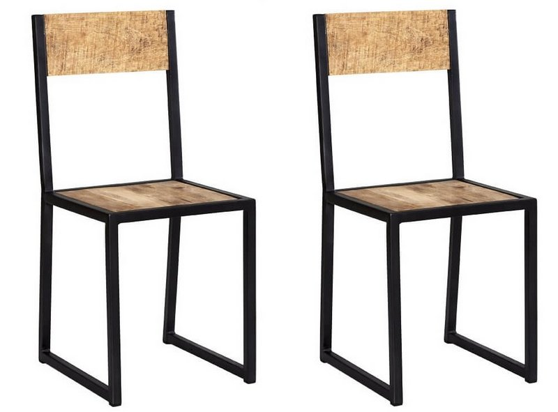 Cosmo Industrial Metal & Wood Dining Chairs - Pair