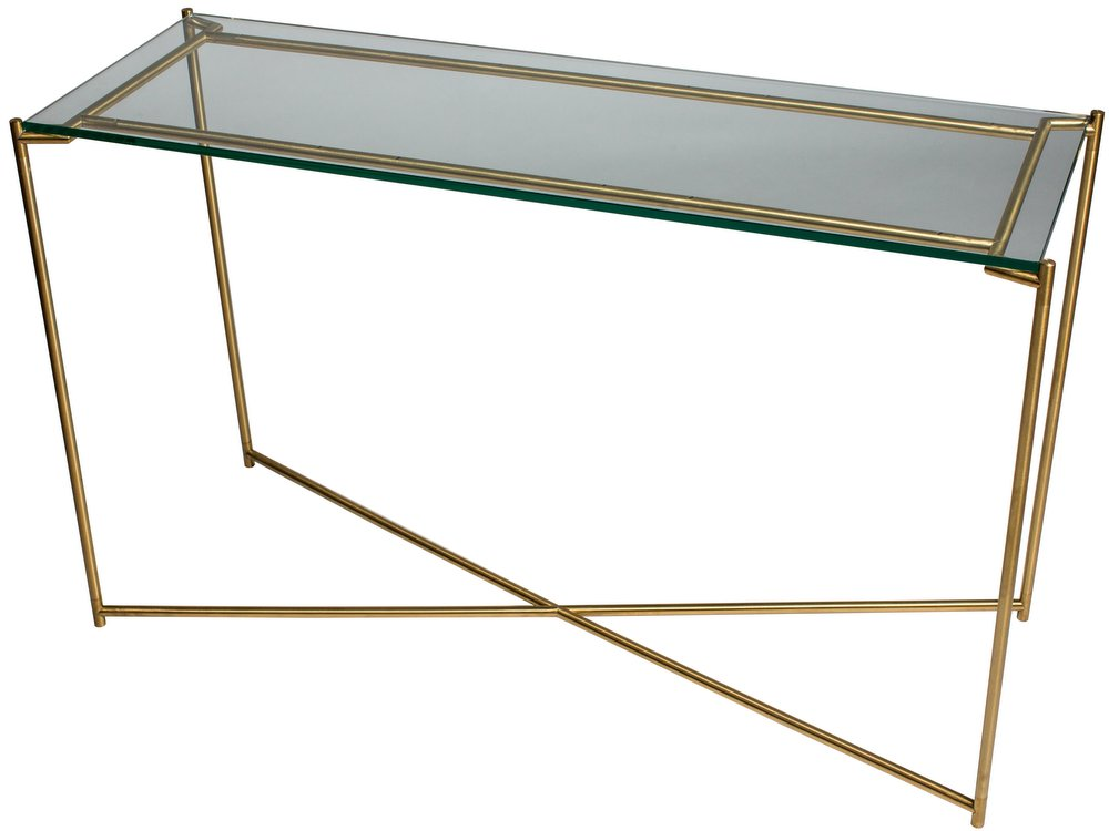 Iris Brass Frame Large Console Table