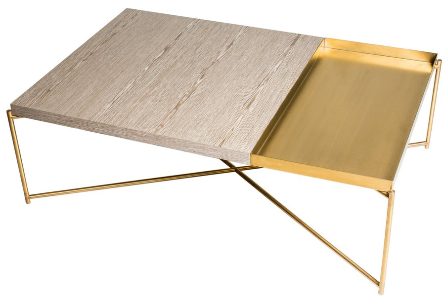 Iris Brass Weathered Oak Rectangle Coffee Table with Brass Tray