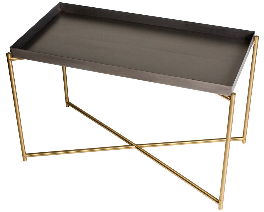 Abdabs Furniture Iris Brass Rectangular Side Table With