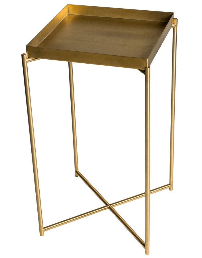 Iris Brass Square Plant Stand with Tray Top