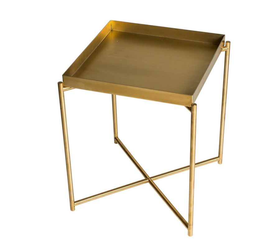 Iris Brass Square Side Table with Tray Top