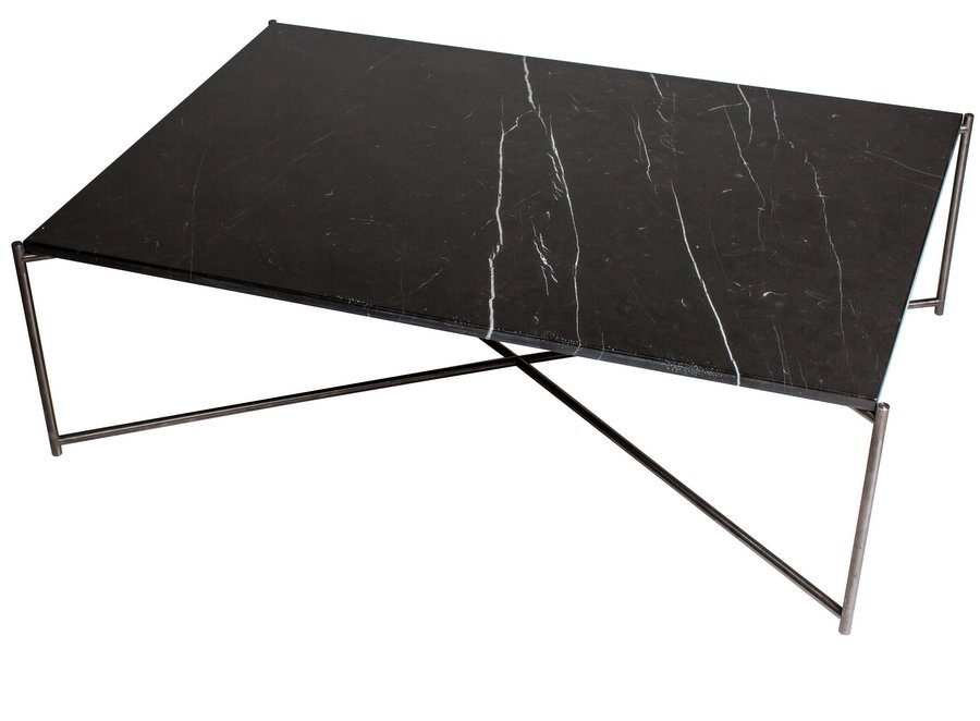 Iris Gun Metal Rectangle Coffee Table with Marble Top