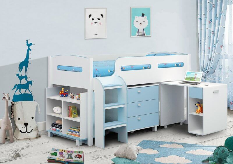 Kimbo Cabin Bed White/Soft Blue with Mattress