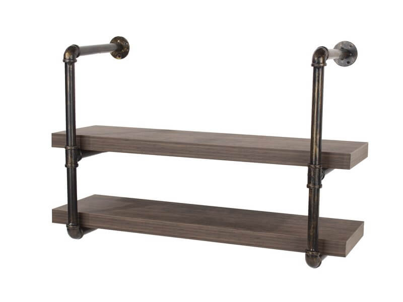 Loft Double Wall Shelf with Pipe Design Brackets - 60 cm