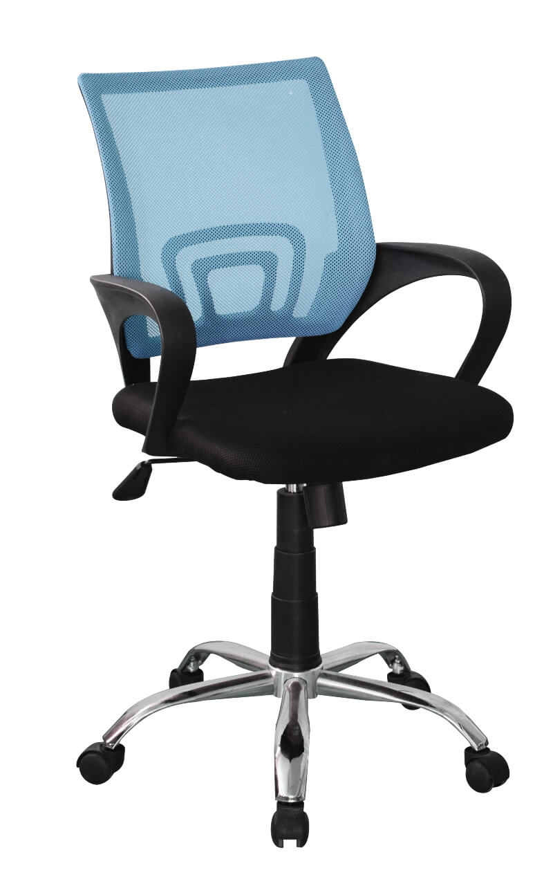 Loft Home Office Black Study Chair with Blue Mesh Back & Chrome Base