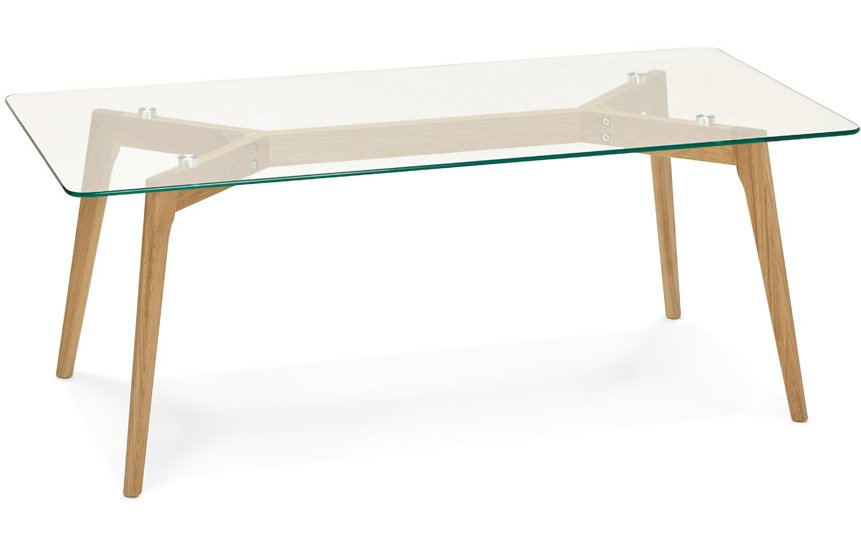Low Glass & Wood Coffee Table