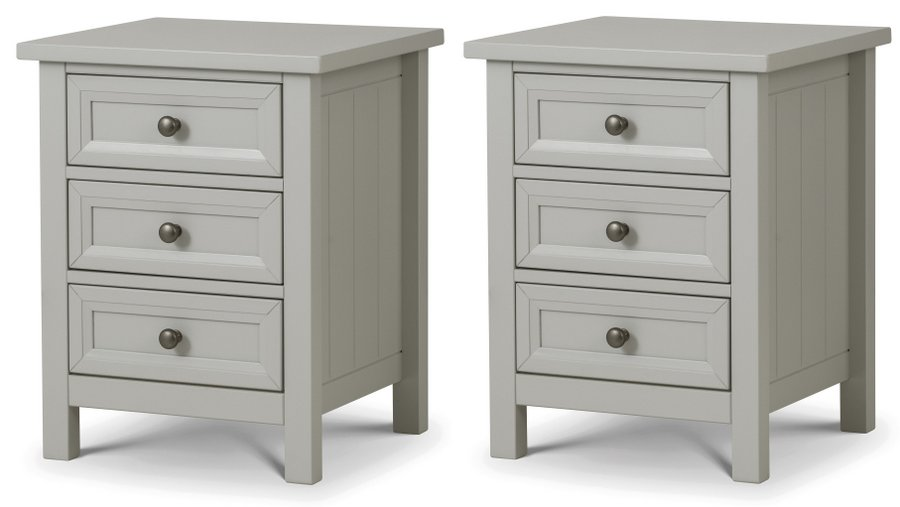 Maine Dove Grey 3 Drawer Bedside Tables - Pair