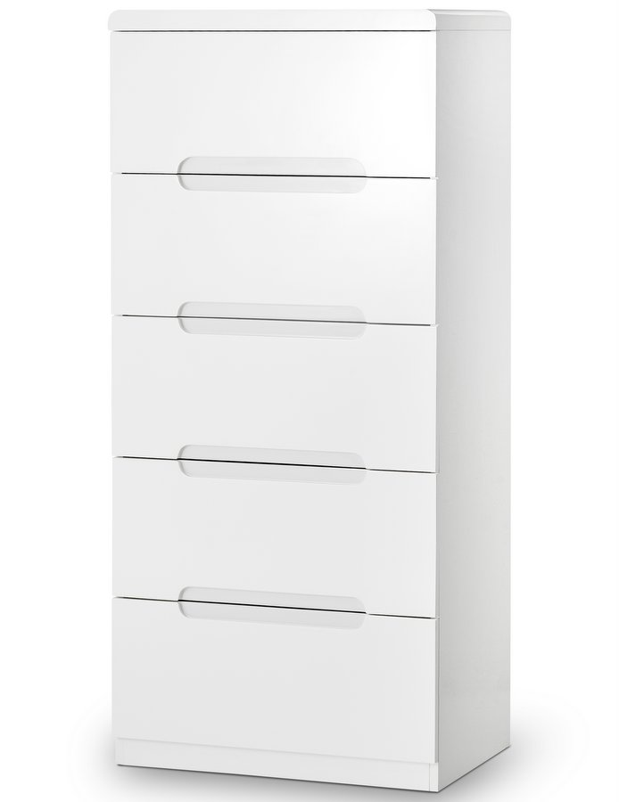Manhattan High Gloss White  Drawer Narrow Chest Assembled