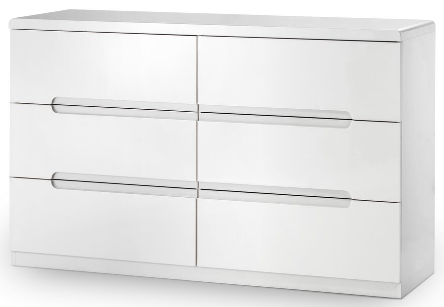 Manhattan High Gloss White  Drawer Wide Chest Assembled