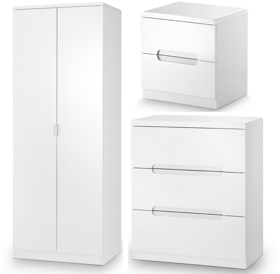 Abdabs Furniture Manhattan High Gloss White Trio Bedroom Set