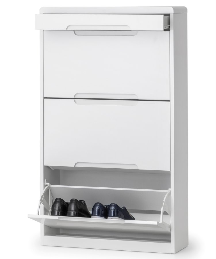 Manhattan High Gloss White Shoe Cabinet with Drawer