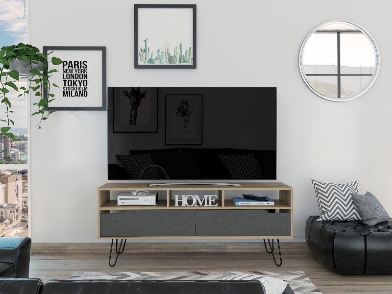 Manhattan Wide Screen TV Unit with 2 Doors - Pine & Stone Effect