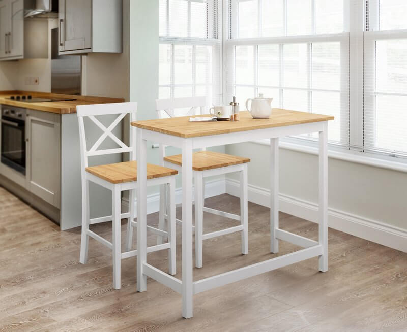 Marlow Bar Set Table and Stool Package - Light oak & Ivory