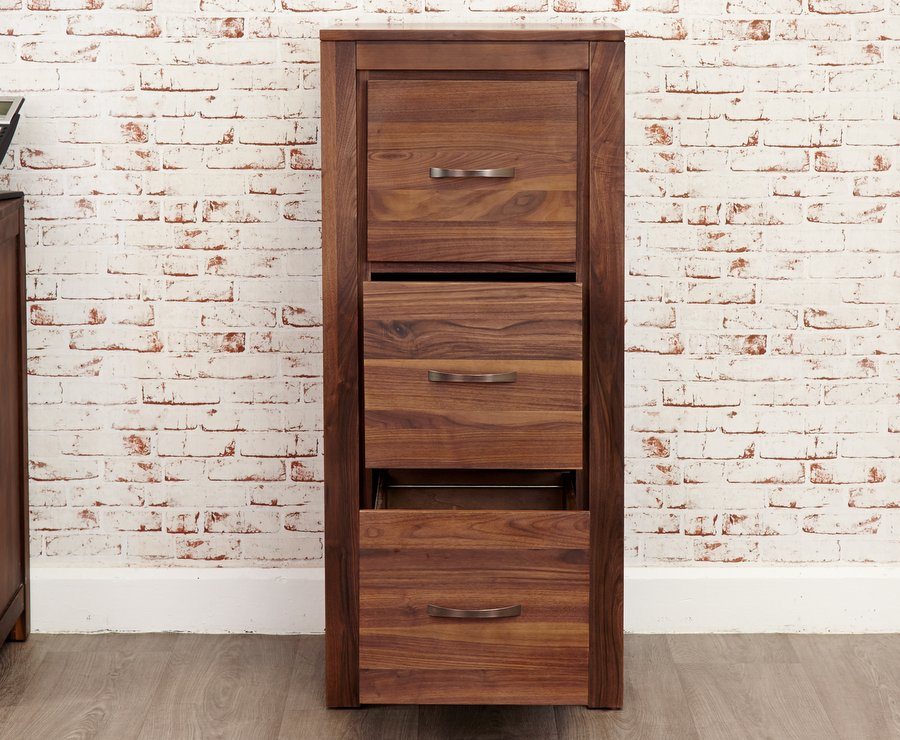 Mayan Walnut Three Drawer Filing Cabinet