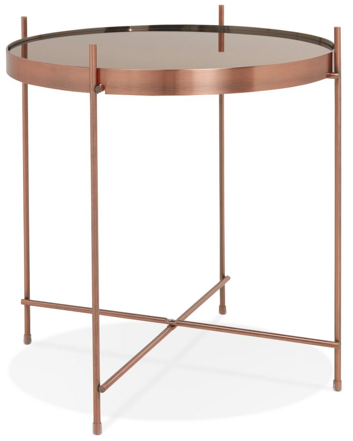 Metallic Copper Finish Side Table with Mirrored Top