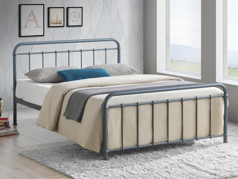 Miami Grey Metal Bed Frame  - King-Size