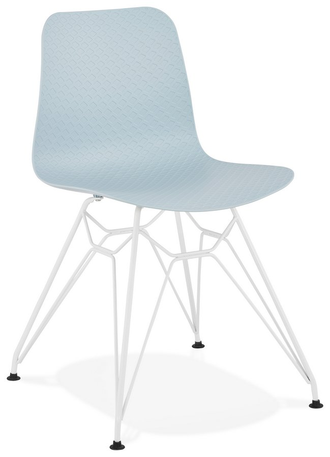 Modern Designer Style Plastic &  White Metal Chair - Pastel Colours