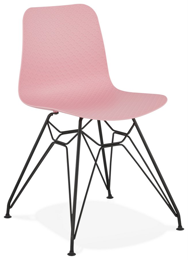 Modern Industrial Style Plastic Pastel Chair with Black Metal Legs