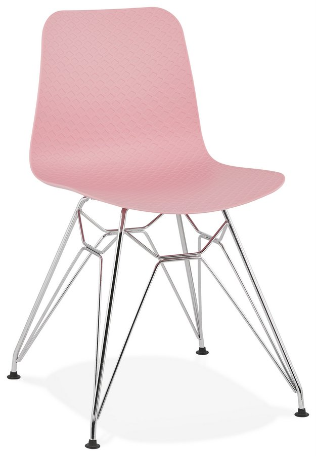 Modern Industrial Style Plastic Chair with Chrome Legs