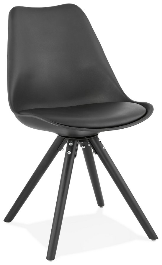 Momo Plastic Chair with Black Painted Wooden Legs