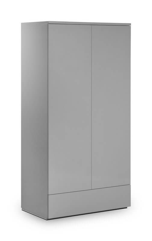 Monaco 2 Door 1 Drawer Wardrobe - High Gloss Grey
