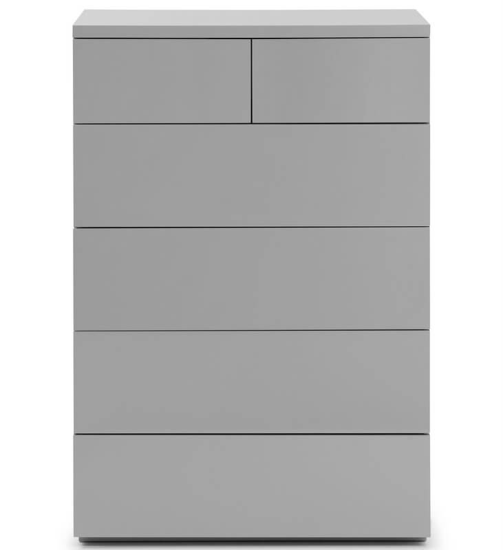 Monaco 4 + 2 Drawer Chest - High Gloss Grey