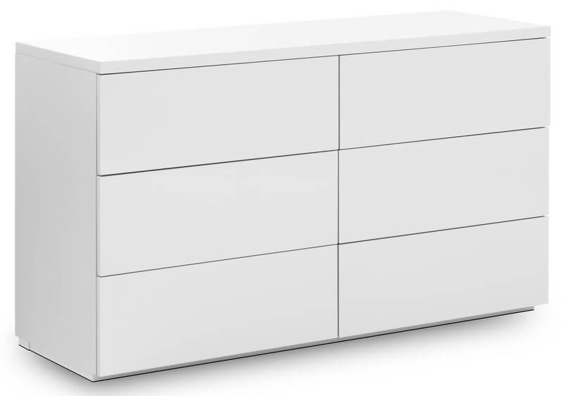 Monaco 6 Drawer Wide Chest - High Gloss White