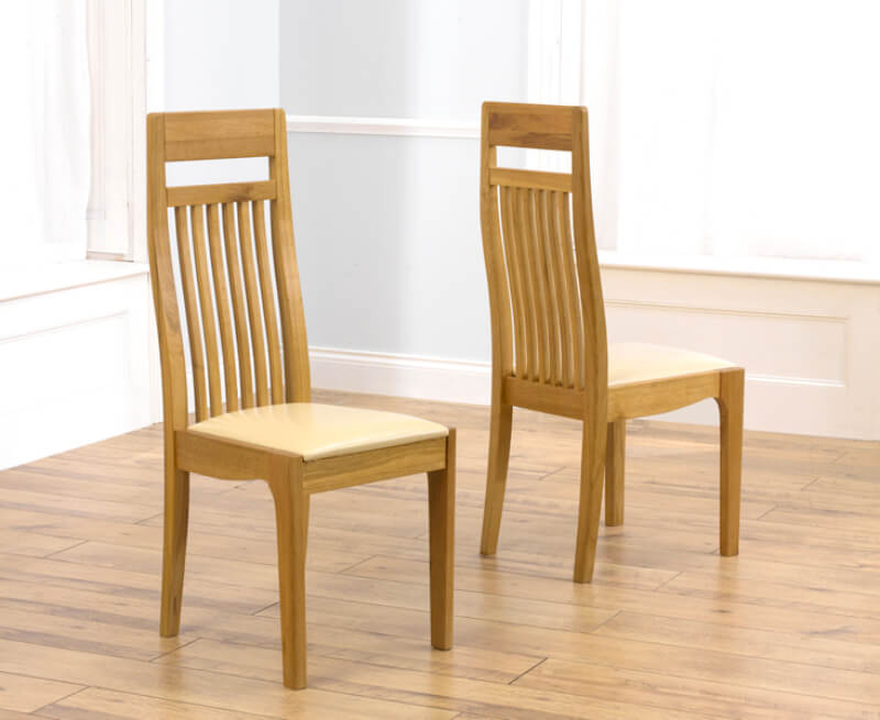 Monte Carlo Oak Dining Chairs with Leather Seat - Pair