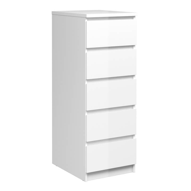 Naia Narrow Chest of 5 Drawers in White