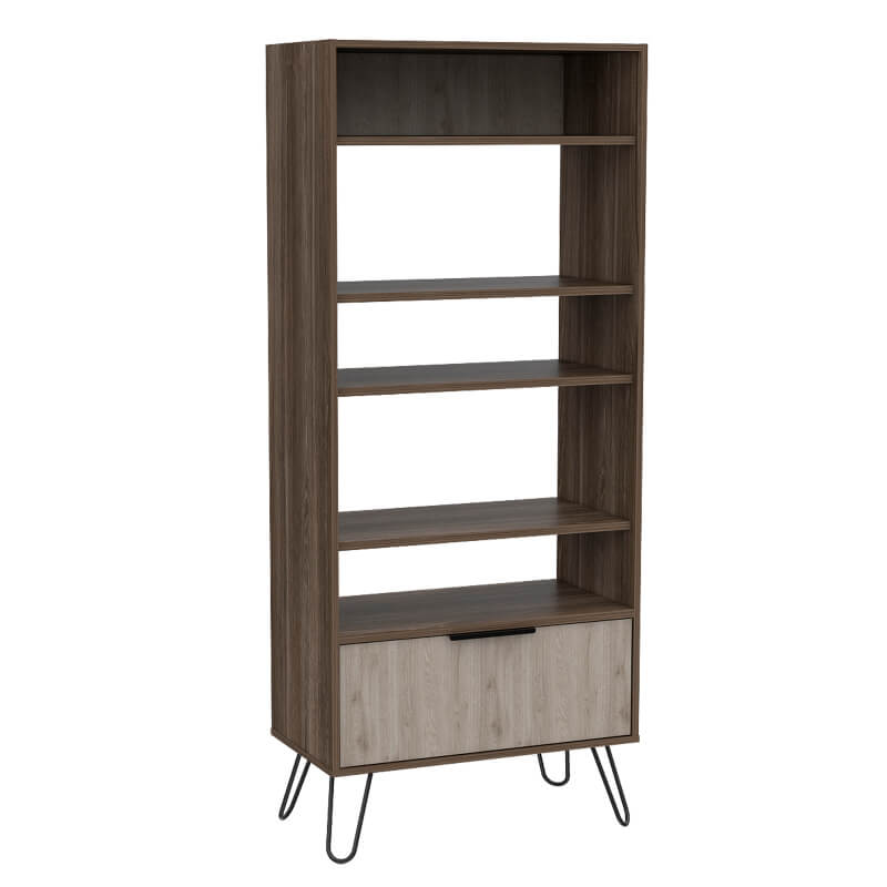 Nevada Display Bookcase with Door - Smoked Oak and Bleached Effect