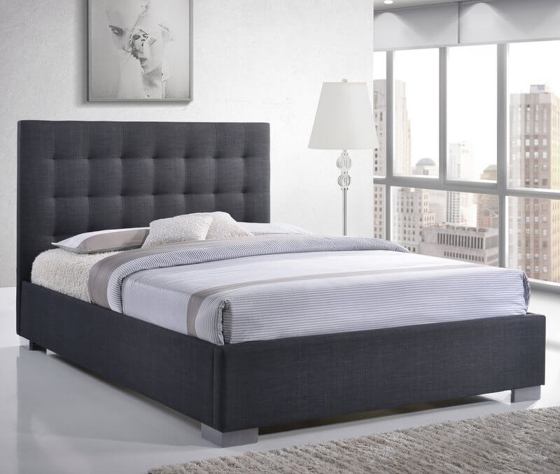 Nevada High Headboard Fabric Bed Frame - Double