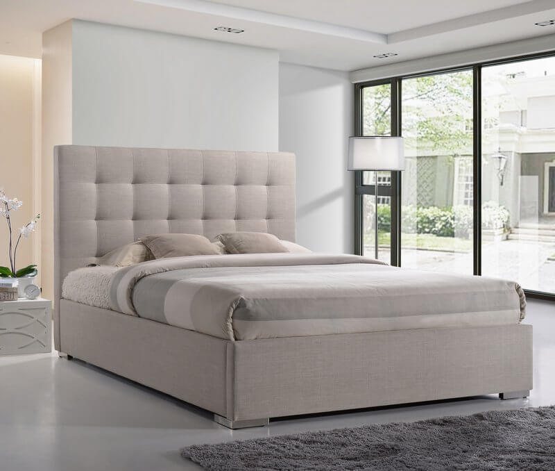 Nevada High Headboard Fabric Bed Frame - King-Size