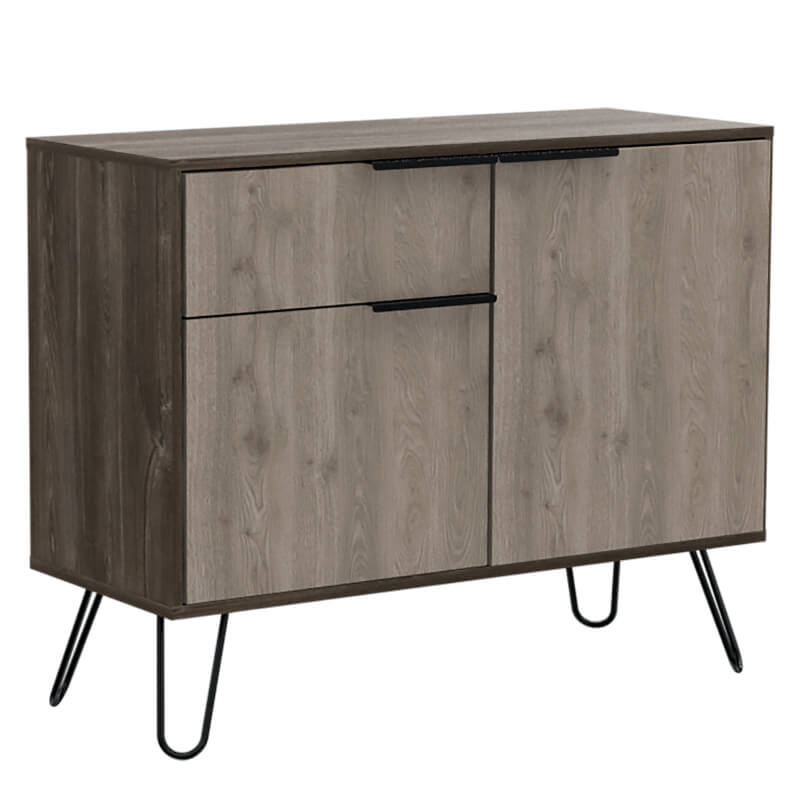 Nevada Small Sideboard with 2 Doors and Drawer - Smoked Oak and Bleached Effect