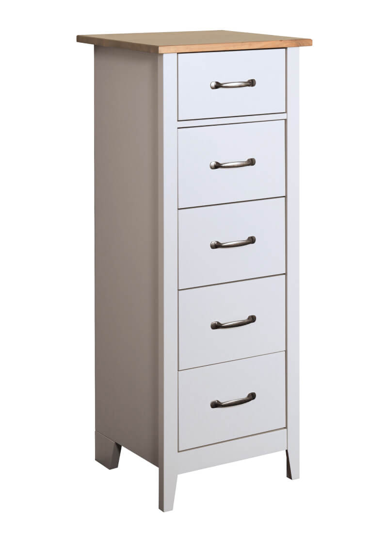 Norfolk Grey & Pine 5 Drawer Narrow Chest