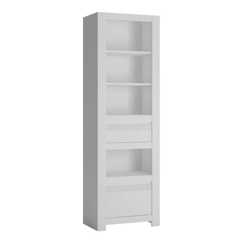 Abdabs Furniture - Novi 2 Drawer Tall Narrow Bookcase in Alpine White