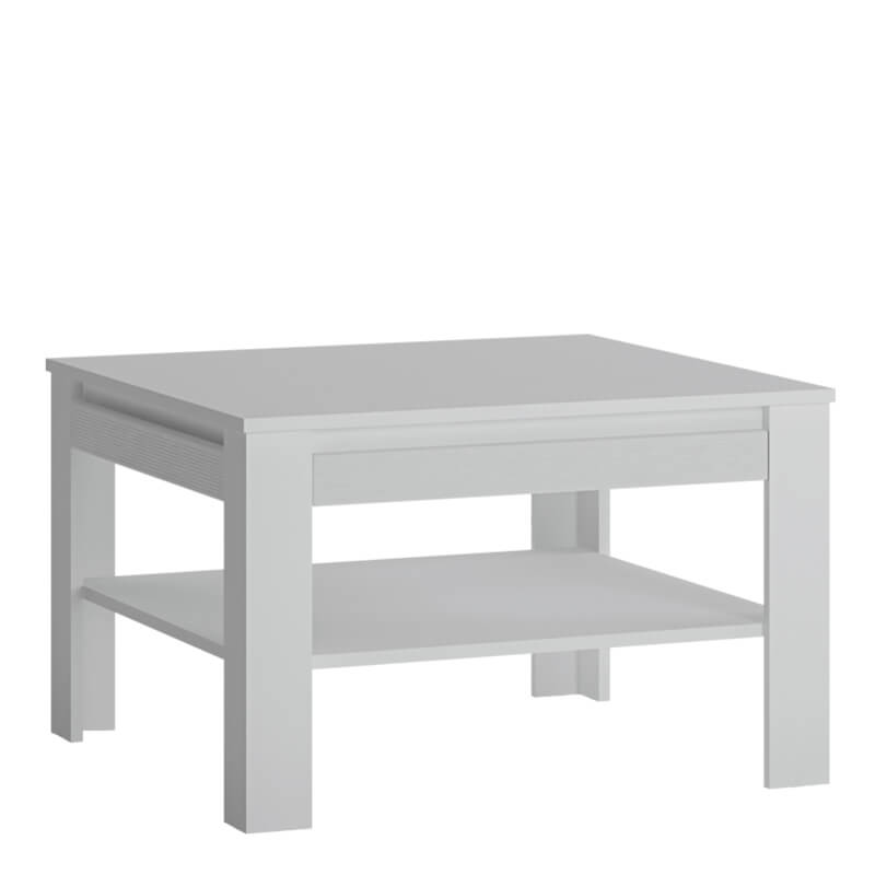 Novi Square Coffee Table with shelf in Alpine White