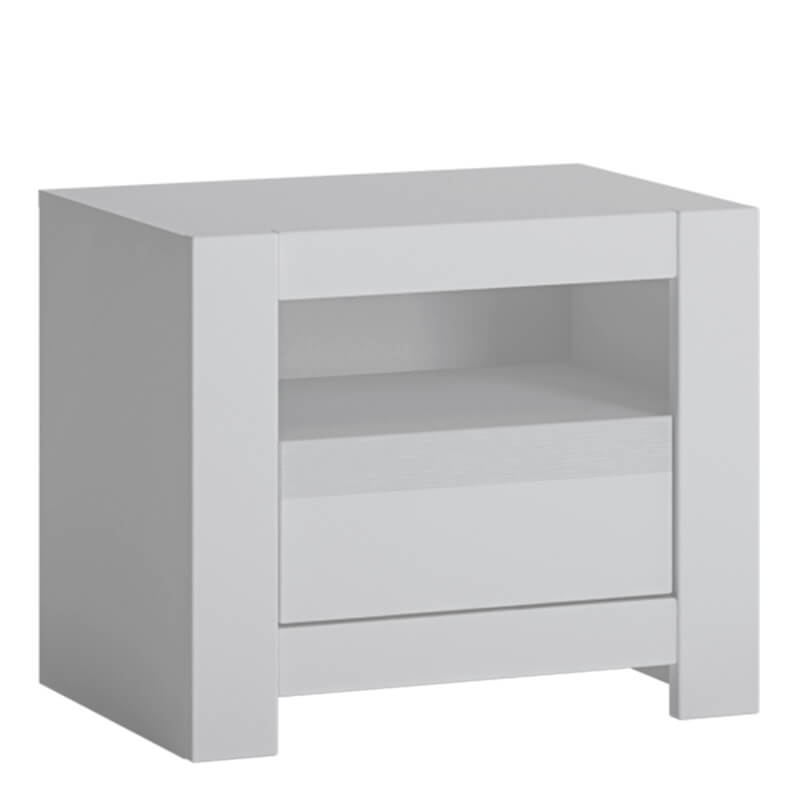 Novi 1 Drawer Bedside Table in Alpine White