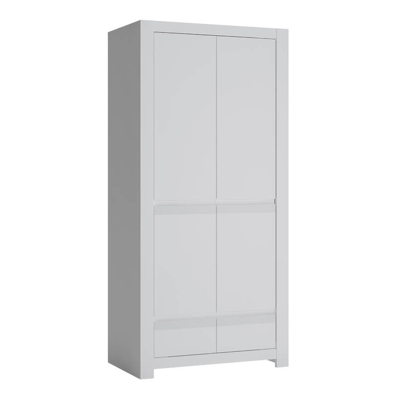 Novi Wardrobe with 2 Drawers in Alpine White - Shelving & Hanging Rail