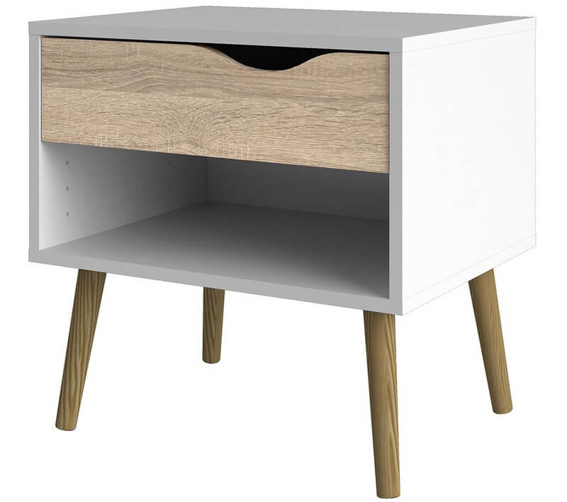 Oslo 1 Drawer Bedside in White and Oak