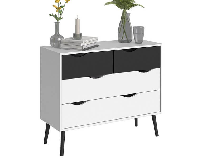 Oslo Chest of 4 Drawers (2 + 2) in White and Black Matt