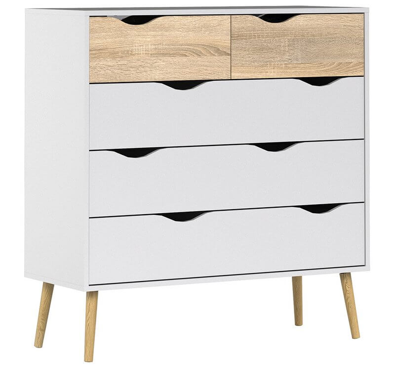 Oslo Chest of 5 Drawers (2 + 3) in White and Oak