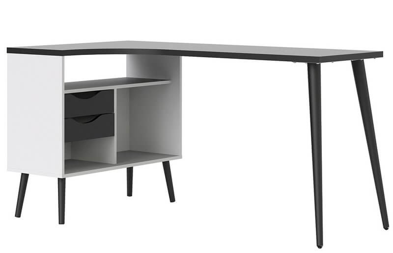 Oslo Desk 2 Drawer in White and Black