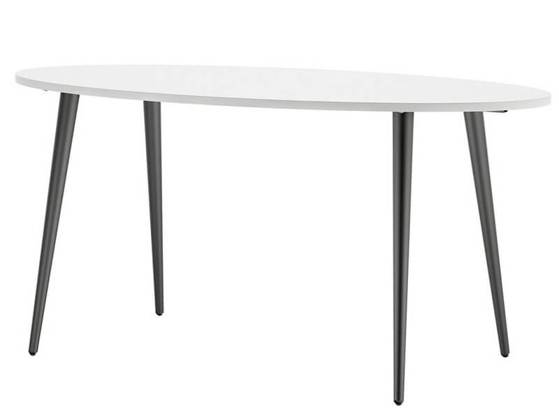 Oslo Large Dining Table - 160 cm in White and Matt Black