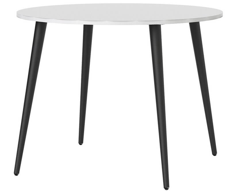 Oslo Round Dining Table - 100 cm in White and Matt Black