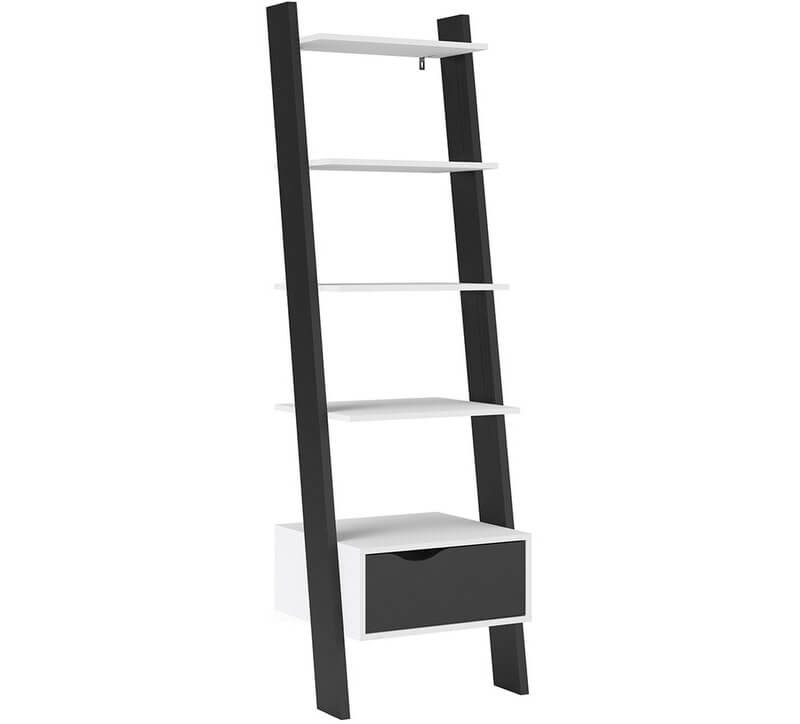 Oslo Leaning Bookcase 1 Drawer White and Black Finish
