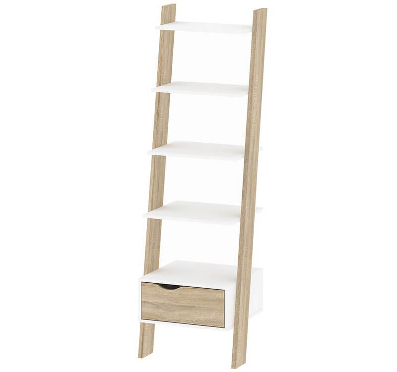 Oslo Leaning Bookcase 1 Drawer White and Oak Finish