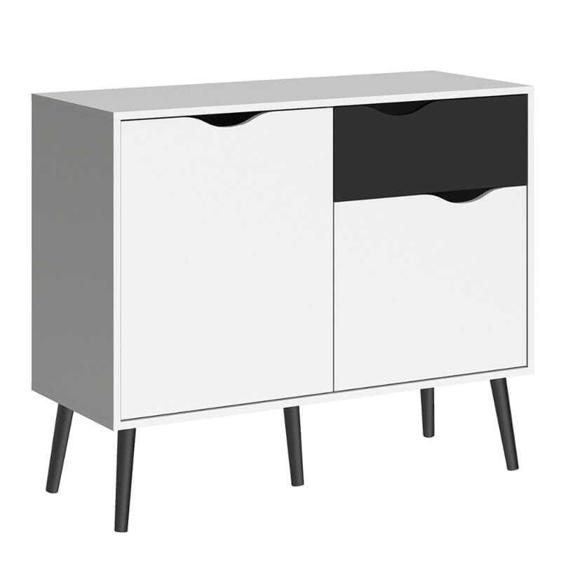 Oslo Sideboard - Small - 1 Drawer 2 Doors in White and Black Finish