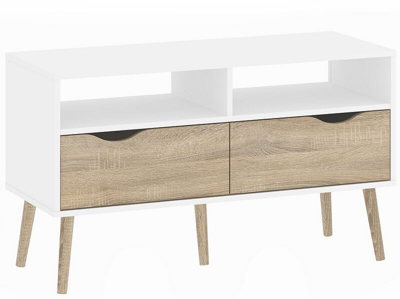 Oslo TV Unit - 2 Drawer in White and Oak Finish